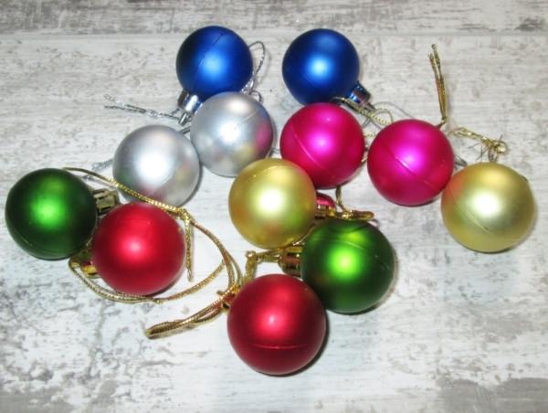 Набір ялинкових кульок 12 шт. різнокольорові