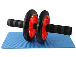 Колесо для тренування м'язів преса, ролик для преса, спортивне фітнес-колесо + коврик