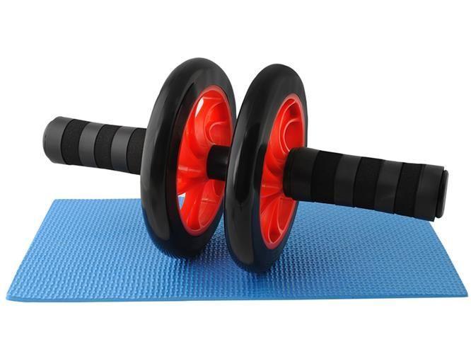 Колесо для тренування м'язів преса, ролик для преса, спортивне фітнес-колесо + коврик, фото 1