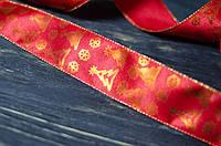 Стрічка декоративна 4 см новорічна червона з візерунком\дротяний край, фото 1