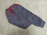Спортивные штнаны на мальчика нсерые теплые байка  рисунок бордо 0-1.1.2.3.4.5.6.7 лет