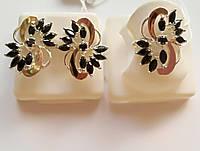 Гарнитур серебряный с золотыми накладками и черными камнями Колорит, фото 1