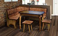 Кухонный комплект Даллас темный (уголок + стол + 2 табурета)