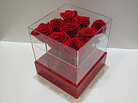 Акриловая коробка для цветов с флористическим оазисом