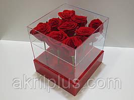 Акрилова коробка для квітів з флористичним оазисом