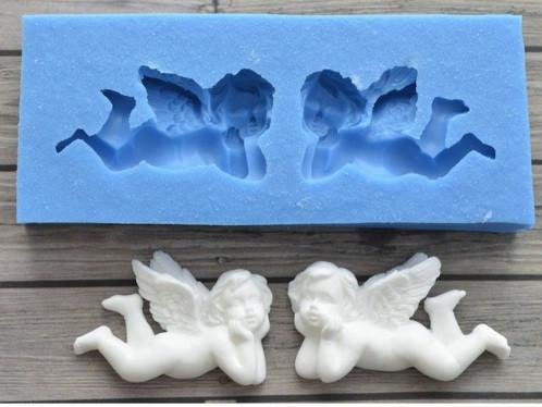 """Кондитерский молд """"Два ангелочка"""" - размер молда 9,5*4см, качественный силикон"""