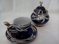 Набор чайных фарфоровых чашек с сахарницей  Румыния