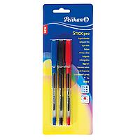 Ручки шариковые Pelikan Stick Pro 3шт синяя, красная, черная  (913053)