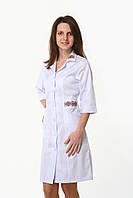 Медицинский халат коттон женский с вышивкой