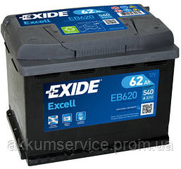 Аккумулятор автомобильный Exide Excell 62AH R+ 540А