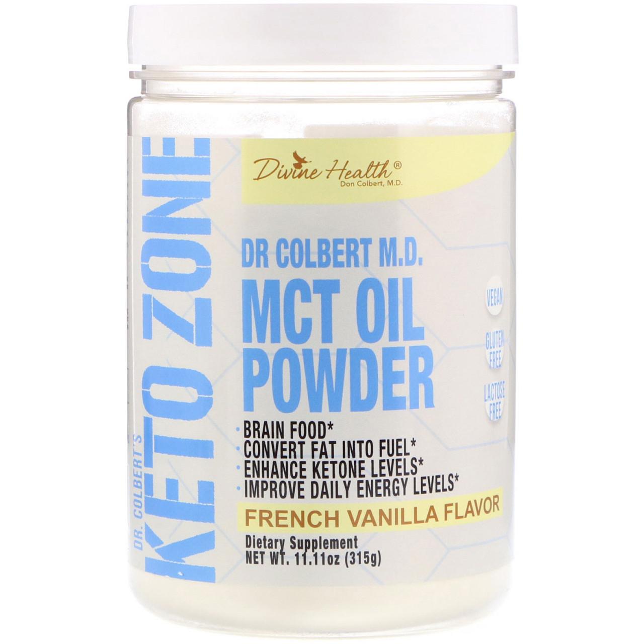Divine Health, Кето-зона д-ра Кольберта, порошок масла среднецепочечных триглицеридов, французская ваниль, 315 г