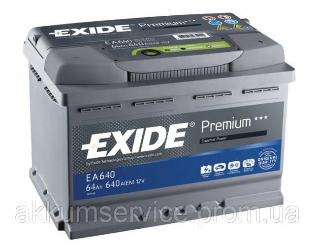 Аккумулятор автомобильный Exide Premium 64AH R+ 640А (EA640)