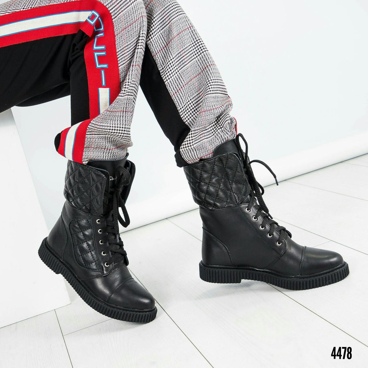 Зимние черные ботинки на шнуровке Размер 37