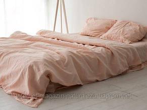 Льняное постельное белье евро Нежный персик, фото 3