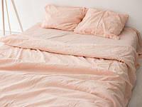 Льняное постельное белье евро Нежный персик