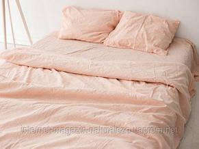 Льняное постельное белье евро Нежный персик, фото 2