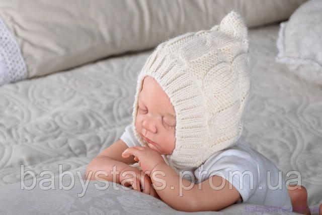Вязаная шапочка для новорожденного на махре