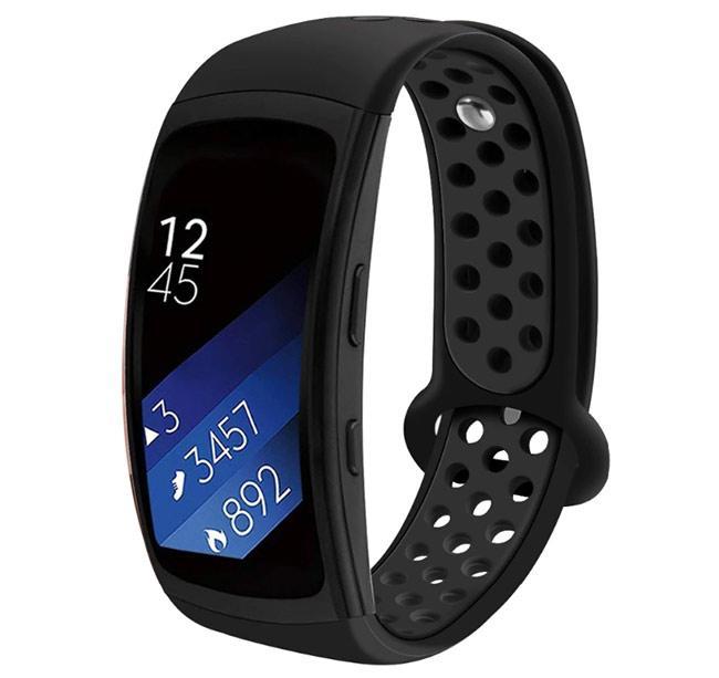 Силіконовий ремінець з перфорацією Primo для фітнес браслета Samsung Gear Fit 2/Fit 2 Pro(SM-R360/R365) - Black