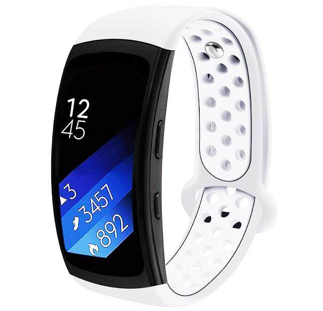 Силиконовый ремешок с перфорацией Primo для фитнес браслета Samsung Gear Fit 2/Fit 2 Pro(SM-R360/R365) - White