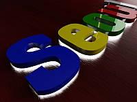 Букви з підсвічуванням контражур і кольоровим акрилом на обличчі, h - 200мм (Товщина літери: 100мм; Колір світлодіодного модуля: Білий;), фото 1