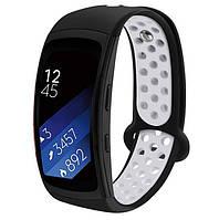 Силиконовый ремешок с перфорацией Primo для Samsung Gear Fit 2 / Fit 2 Pro ( SM-R360/R365 ) - Black&White