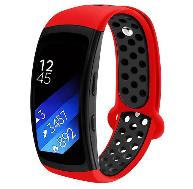 Силіконовий ремінець з перфорацією Primo для Samsung Gear Fit 2 / Fit 2 Pro ( SM-R360/R365 ) - Red&Black