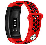 Силіконовий ремінець з перфорацією Primo для Samsung Gear Fit 2 / Fit 2 Pro ( SM-R360/R365 ) - Red&Black, фото 2