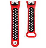 Силіконовий ремінець з перфорацією Primo для Samsung Gear Fit 2 / Fit 2 Pro ( SM-R360/R365 ) - Red&Black, фото 4