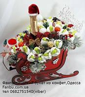 """Новогодний подарок из конфет:красные санки с шампанским и подснежниками из конфет""""Новогодний экипаж""""№41+4, фото 1"""