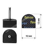 Набойки полиуретановые FAVOR, штырь 2.9 мм, р. 12*12 мм, цв. черный, фото 1