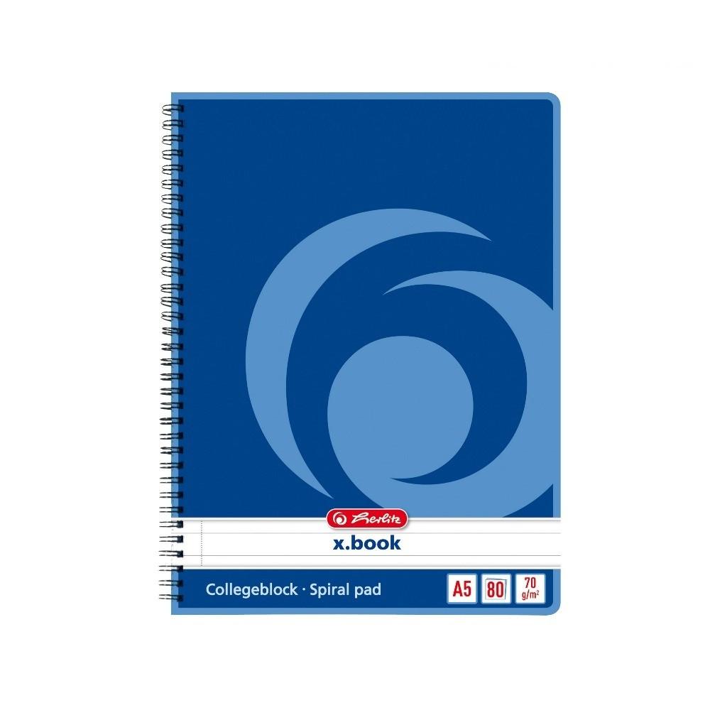 Блокнот Herlitz X.Book А5 80 листов линия синий на спирали (297515)