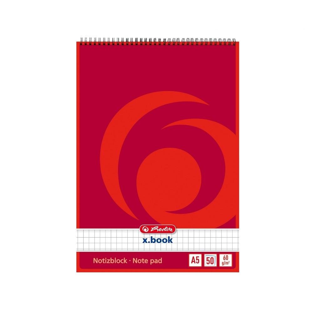 Блокнот Herlitz X.Book А5 50 листов клетка красный на спирали (110536)