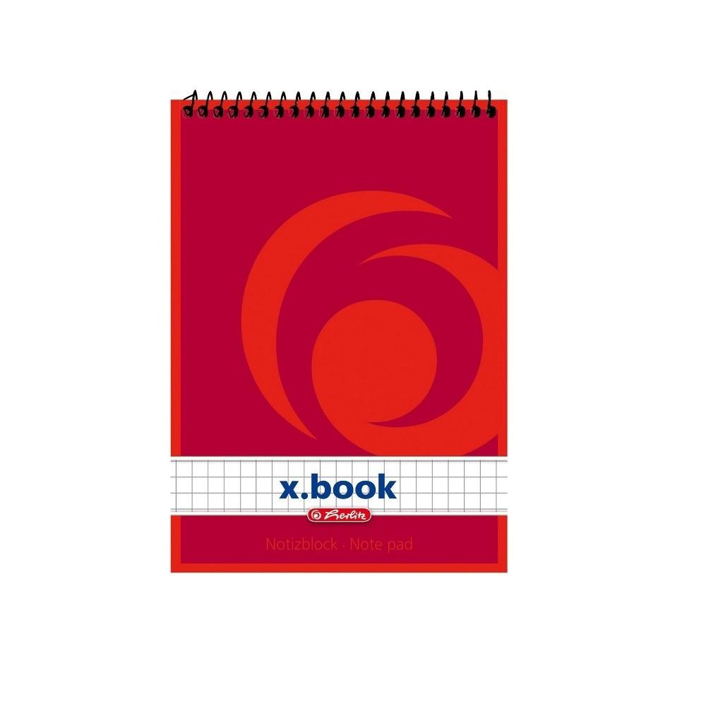 Блокнот Herlitz X.Book А6 50 листов клетка красный на спирали (110635)