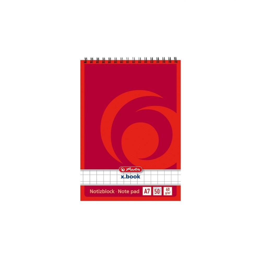 Блокнот Herlitz X.Book А7 50 листов клетка красный (110734)