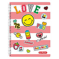 Блокнот Herlitz А4 70 листов клетка Smiley World Girly (50002757)