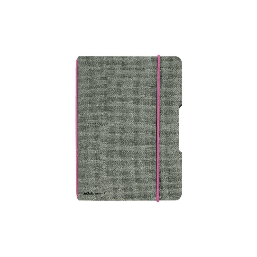 Блокнот Herlitz My.Book Flex Canvas А6 40 листов клетка текстильная обложка розовый крепеж (11361805)