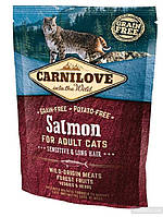 Корм Carnilove Cat Salmon Sensitive&Long Hair для кішок з чутливим травленням, 0,4 кг 170192