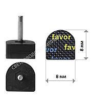 Набойки полиуретановые FAVOR, штырь 2.9 мм, р. 8*8 мм, цв. черный, фото 1