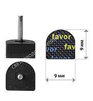 Набойки полиуретановые FAVOR, штырь 2.9 мм, р. 9*9 мм, цв. черный, фото 1