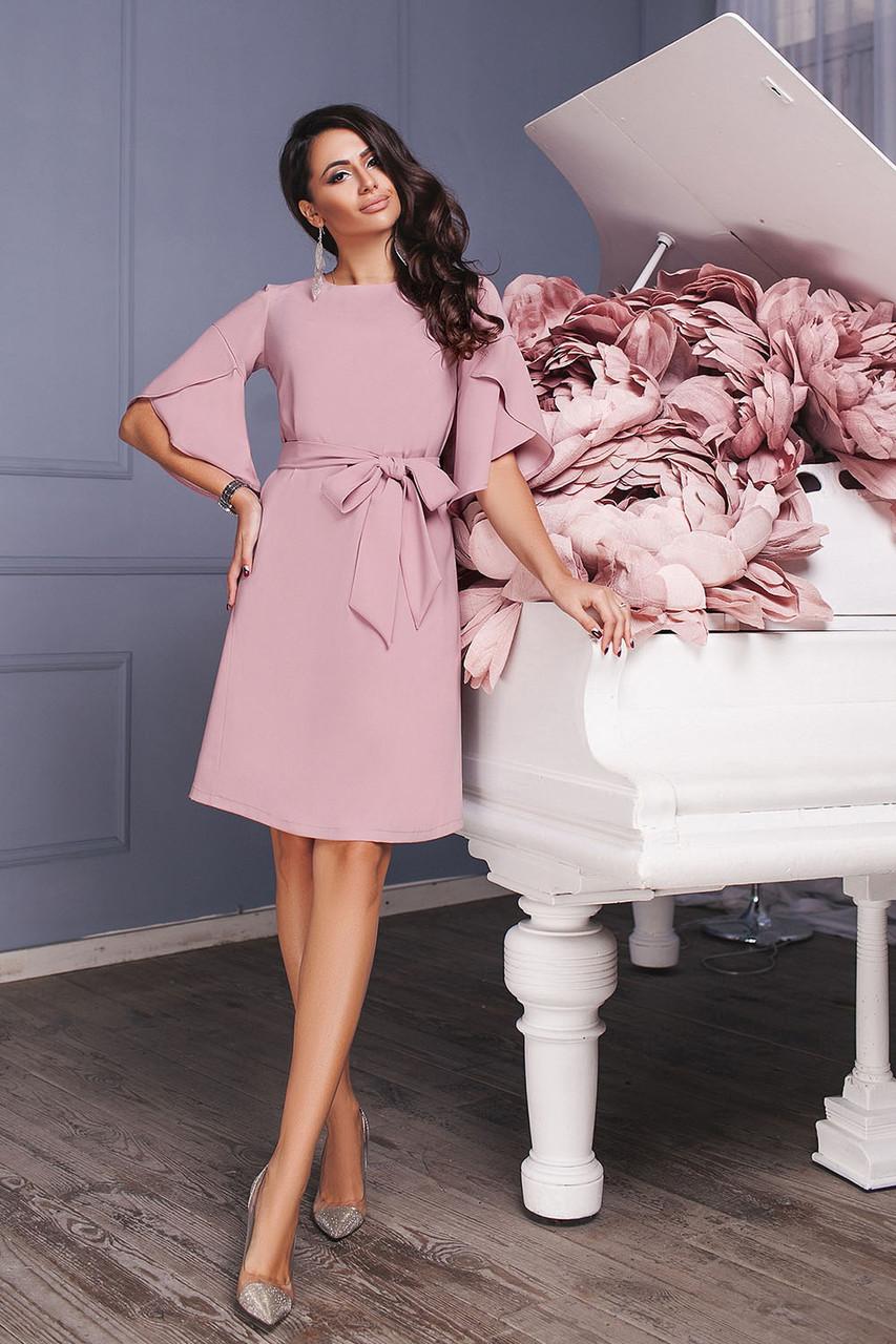 Платье трапеция цвета лаванды с поясом