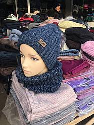 Теплый набор шапка хомут   Размер универсальный.