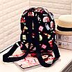 Рюкзак женский кожзам Цветочный принт духи Черный, фото 4