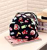 Рюкзак женский кожзам Цветочный принт духи Черный, фото 5