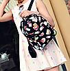 Рюкзак женский кожзам Цветочный принт духи Черный, фото 2