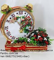 """Новогодние часы из конфет на подставке""""Золотой будильник-2019"""", фото 1"""