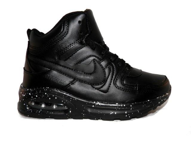 Кроссовки зимние подростковые Nike (Реплика) 9802-6 черный