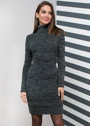 2035fb12f540bcf Теплое повседневное вязаное платье цвет-черный, белый меланж, р. 42 ...