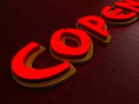 Светящиеся буквы с объемной подложкой, h-200мм (Толщина буквы: 100мм;  Нанесение пленки на лицо буквы: ORACAL, фото 1