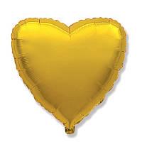 """Фольгований куля серце золото 18"""" Китай"""