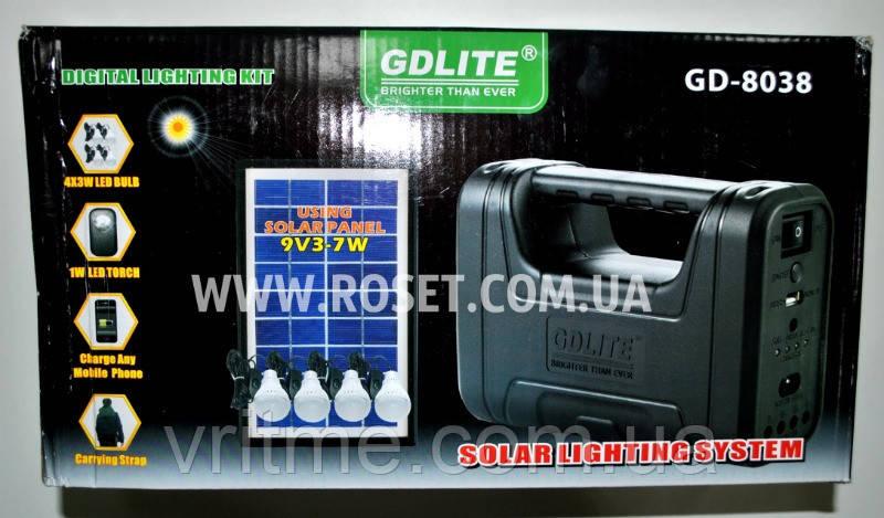 Солнечная система GDLITE GD-8038 Solar Lighting System